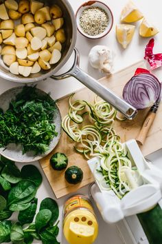 Zucchini Noodle & Baby Potato Salad w/ Dill Pesto + Roasted Red Onions by Faring Well