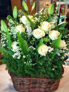 Our signature Rose Hedge Basket. Rose Hedge, Hedges, Floral Design, Basket, Table Decorations, Plants, Home Decor, Decoration Home, Room Decor