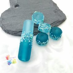 Saltwater Blue Blossoms by GlitteringprizeGlass