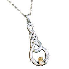Sterling Diamond Celtic Claddagh Necklace