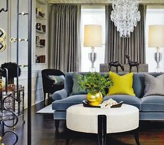 slate blue sofa with grey and yellow