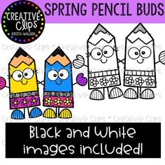 {FREE} Spring Pencil Buds {Creative Clips Clipart} by Krista Wallden - Creative Clips Classroom Clipart, Classroom Fun, Teachers Pay Teachers Free, School Frame, Chalk Markers, Art Background, Portfolio, Doodle Art, Worksheets