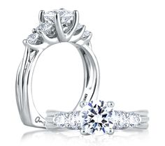 Five Stone Trellis Set Engagement Ring. All A.JAFFE engagement rings are available in platinum, white, yellow or rose gold.