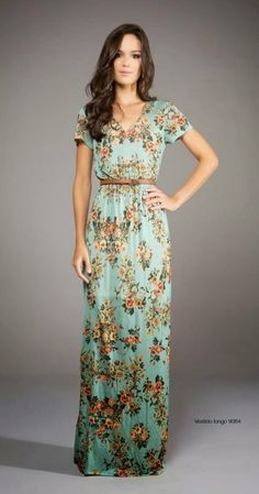 Women Lady Fashion: Adorable Green and Flower Stripped Long Women Dres...