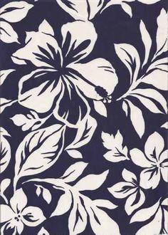 20paka White Hawaiian Hibiscus & Orchid Flowers on a navy blue cotton apparel fabric.  BarkclothHawaii.com