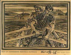 "Harry Kernoff, ""Connemara Men Rowing a Curragh"" #art #Connemare #Ireland #men #rowing #curragh #woodcut #DukeStreetGallery"