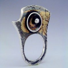 "Ring | Angela Baduel-Crispin. ""Pharaon"" Fine silver metal clay and keum-boo 24k gold."