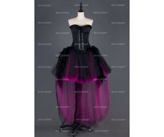 Rebelsmarket black and fuchsia feather gothic burlesque corset high low prom party dress dresses 4
