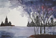 """The sun is out now in Peru, MA but what wildly beautiful sky's we have had this after noon. It feels like summer.  Stormy Lake 5""""x7"""" watercolor 300 lb. cold press sheet, Light Pine Wood Frame Original sold. Fine Art Prints available.  Website: www.sallytiskarice.com Follow on twitter https://mobile.twitter.com/SallyTiskaRice/followers"""