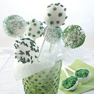 3 St. Pattys Day Dessert Recipes, including Luck o the Irish Cake Pops, Irish Cream Swirl Brownie and Green Velvet Cupcake