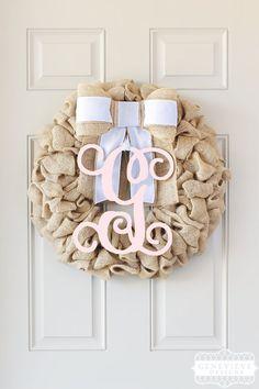 Seersucker Summer Initial Wreath - Burlap Wreath with Initial, Front Door Wreath Summer, Baby Shower Decor Wreath, Monogram Wreath, Summer Wreaths For Front Door