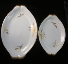 Vintage MCM Serving Platters  Hand painted by LazyDogAntiqueStore