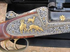 Engraving on a Single shot rifle from LUD. BOROVNIK - Ferlach (Austria). Caliber: 6,5 x 65R