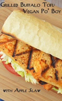 Grilled buffalo tofu po' boy with apple slaw … it doesn't get any better than this #itssoygood