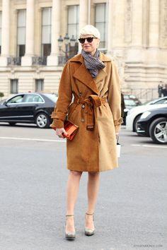 Elisa Nalin in Lahssan trench coat, Paris Fashion Week Fall 2013   Style du Monde