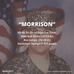 """Morrison"" WOD - 50-40-30-20-10 Reps For Time: Wall Ball Shots (20/14 lb); Box Jumps (24/20 in); Kettlebell Swings (1.5/1 pood)"