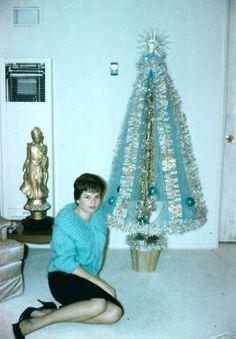 aluminum christmas tree | girl with aluminum Christmas tree
