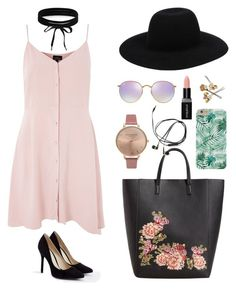 """Cocktail party with friends"" by mxgvi ❤ liked on Polyvore featuring Topshop, JustFab, Ray-Ban, Boohoo, MANGO, Smashbox, Off-White and Olivia Burton"
