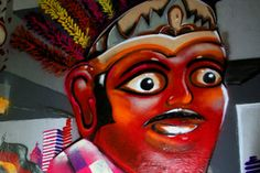 "A detail of a street mural created in Jakarta as part of the Berlin X Jakarta 2012 sister city project on December 5th. The red-faced big giant Ondel-Ondel, an icon of #Jakarta, was painted by the artist ""Tutu"". [Photos by Juke Carolina/Khabar] from Khabar Southeast Asia article, ""Urban artists put serious fun on the wall"" #Streetart #Indonesia More info: http://ht.ly/gGvcP"
