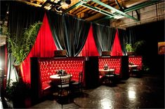 Red Banquettes for Speakeasy Party Décor: Bold American Events