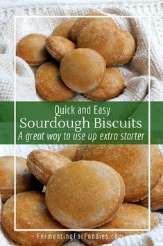 Never throw away sourdough starter again! These quick sourdough buns use the acidity of sourdough starter to provide the lift with baking soda. The recipe uses a ton of sourdough starter, and the bread is ready in less than 2 hours. Perfect for dinner. Quick Biscuits, Sourdough Biscuits, Sourdough Rolls, Sourdough Recipes, Quick Bread Recipes, Real Food Recipes, Starter Recipes, Free Recipes, Vegan Recipes