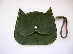 Forest green Cat bag suede wristlet  Cat clutch by RachelaPiras