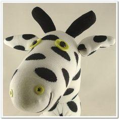 Handmade Sock Giraffe Stuffed Animal Doll Baby by supersockmonkeys