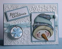 Christmas Craft - Christmas Card with Cheerful Snowman and Embossed Snowflakes 336