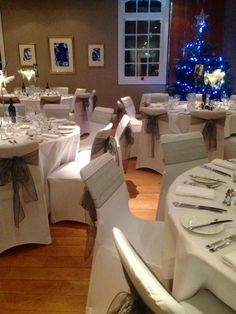 Hart's Hotel in Nottingham.  Chair covers for Christmas parties