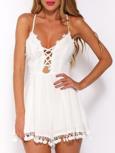 Shop White Lace Up Front Cross Back Applique Pom Pom Romper Playsuit from choies.com .Free shipping Worldwide.$18.9