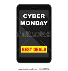 Black #phone with text #Cyber #monday Best #deals on the screen. #Vector template for #sale #banner