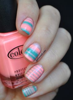 Coral and Teal Stripped Nail Art