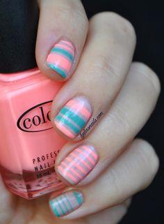 Coral and Aqua Nails
