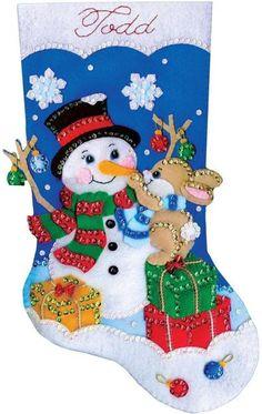 Felt Applique kit featuring a Christmas Stocking with a Snowman. This felt applique kit comes inclu Felt Christmas Stockings, Christmas Stocking Pattern, Felt Stocking, Stocking Tree, Felt Christmas Decorations, Christmas Snowman, Christmas Ornaments, Merry Stockings, Felt Applique