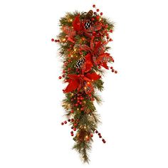 National Tree Decorative Collection Tartan Plaid Teardrop with Cones Red Berries Poinsettias 36Inch -- To view further for this item, visit the image link.
