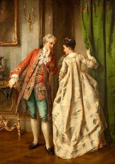 Otto Erdmann (German, 1834 - The appointment Romantic Paintings, Classic Paintings, Old Paintings, Beautiful Paintings, Victorian Paintings, Victorian Art, Art Ancien, Rococo Fashion, 18th Century Fashion