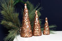 DIY - Copper Christmas Cone Trees covered in Pennies Copper Christmas, Industrial Christmas Trees, Wall Christmas Tree, Cone Christmas Trees, Rustic Christmas, Christmas Trends, Christmas Colors, Christmas Inspiration, Christmas Holidays