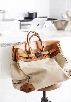 """No clue who made this canvas and leather bag, but I'm a fan. Update- it's a hermes birkin bag. Guess this really should be in my """"dream"""" closet Hermes Birkin, My Bags, Purses And Bags, Tote Bags, Fashion Bags, Mens Fashion, Style Fashion, Luxury Fashion, Beautiful Bags"""
