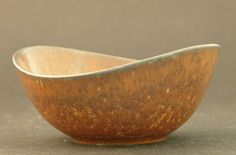 Gunnar Nylund Rorstrand Beautiful Biomorphic Bowl with Chocolate Brown Glaze | eBay