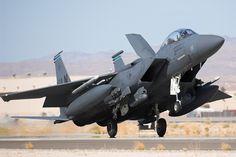 McDonnell Douglas F15E,... notice the air brake.
