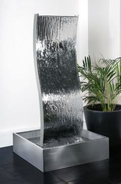 1.8m (5ft 11in) Double-Sided Curved Water Wall with Stainless Steel Reservoir