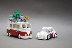 VW Camper and Beetle lego Vw Camper, Volkswagen Bus, Lego Winter, Lego Design, Vw Caddy Mk1, Lego Auto, Combi Vw, Lego For Kids, Cool Lego Creations