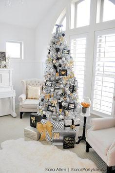 Gold, Black and White striped polka dot Modern Holiday Christmas Tree by Kara Allen