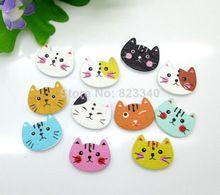 Livraison gratuite! 100pcs mixte 2 trous Cut Cat animal bois coudre Boutons Scrapbook 20x16mm (Chine (continentale))