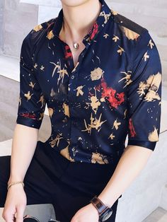 Vintage Stylish Pattern Half Sleeve Mens Casual Shirt - Mens Shirts Casual - Ideas of Mens Shirts Casual - Half sleeve shirt Indian Men Fashion, Mens Fashion Suits, Fashion Outfits, Casual Shirts For Men, Men Casual, Stylish Shirts, Formal Men Outfit, Designer Suits For Men, Vetement Fashion