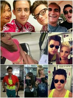 Glee season 6 set and can I just say that Chord (Sam Evans) takes way to many selfies... which I love <3