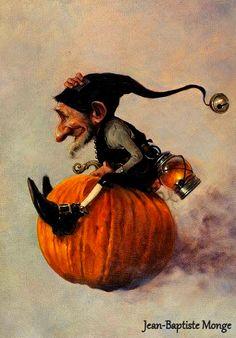 Jean-Baptiste Monge illustration The Flying Pumpkin Elfen Fantasy, Fantasy Art, Kobold, Elves And Fairies, Art Et Illustration, Halloween Art, Happy Halloween, Halloween Tricks, Halloween Witches