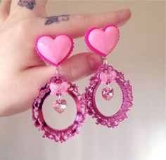 "Image of 16mm (5/8"") Pink heart & ornate frame charm plugs"