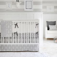 Wanderlust: Arrow Crib Bedding and Gray Crib Bedding - Inspired by the newly popular arrow crib bedding pattern, our Wanderlust Baby Crib Bedding will give your nursery a modern, clean look. Crisp white & gray crib bedding lends a fresh feel to your new baby's room.