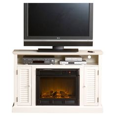 """Found it at Wayfair - Fox 48"""" Electric Fireplace TV Stand in Antique White"""